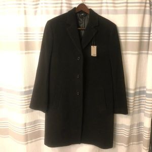 NWT Hickey Freeman Cashmere Black Pea Coat 40R